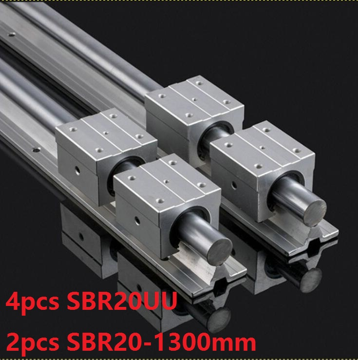 2pcs SBR20 20mm -L 1300mm support guide linear rail + 4pcs SBR20UU linear blocks CNC parts linear guide