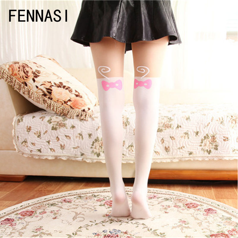 bc04cbb7db7 FENNASI Lolita Women s Tights Cute Cat White Pantyhose Print Kawaii  Stockings Female Splicing Fake Cosplay Maid Outfit Japanese -in Tights from  Women s ...