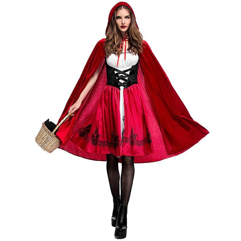 Adulte femmes Halloween Sexy Costume petit rouge équitation à capuche Robe dame broderie fantaisie rouge Robe fête cape tenue pour les filles