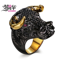 DreamCarnival 1989 Lucky Bull with Golden-Color Horns Punk Hip Hop CZ Big Ring for Unisex Men Women Unique Street Fashion Anillo