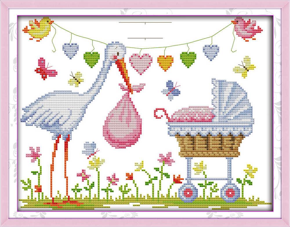JOY Sunday สไตล์การ์ตูน Crane birth Certificate CROSS Stitch เด็กชุด TO BE discharged จากโรงพยาบาลสำหรับทารกแรกเกิด