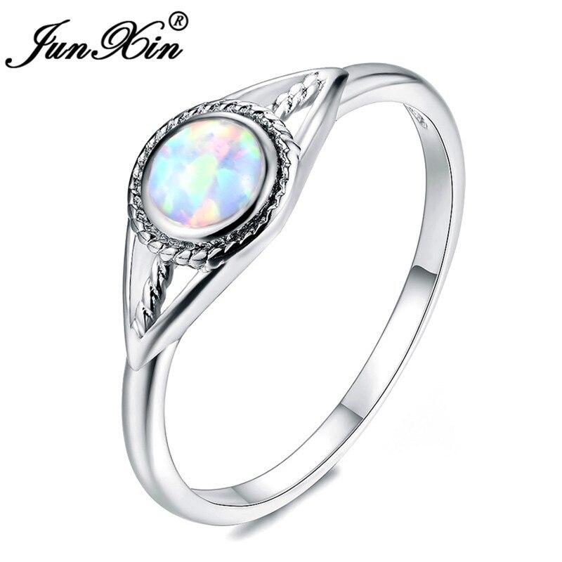 e0f6122a5609 JUNXIN 925 Plata de Ley llena púrpura azul blanco ópalo de fuego anillos  para
