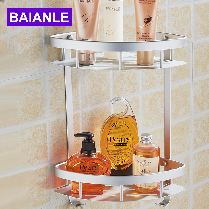 free shipping wall mounted corner new aluminum thickening bathroom shower shelf bathroom accessories basket holder