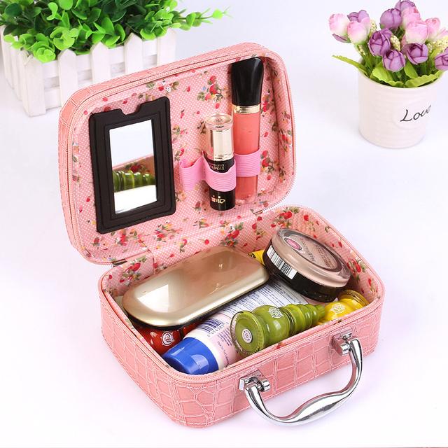 Bolsa de cosméticos de Alta Calidad de cocodrilo bolso de Las Mujeres de Cuero de LA PU de la caja de maquillaje profesional Portátil organizador de maquillaje de viaje