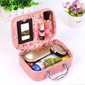 Cosmetic bag High Quality alligator PU Leather professional makeup box Portable Women  handbag organizer travel makeup bag