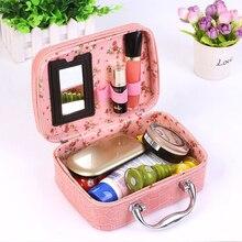 Sac cosmétique de Haute Qualité alligator PU Cuir boîte de maquillage professionnel Portable Femmes sac à main organisateur voyage maquillage sac