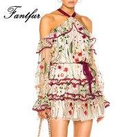 تصميم تماما 2017 الزهور الرسن عارية الذراعين البسيطة المرأة اللباس مثير فساتين هدب مطرزة السيدات vestidos