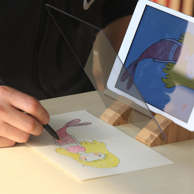 Tracking projection optical drawing board sketch mirror facing copy table reflection light image board mobile phone bracket