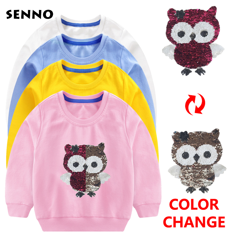 Girls Sweatshirt Hoodie with Reverse Sequin Applique 2018 Autumn Winter Kids Clothes Children Sweatshirts for Girls Hoodies 2-7T yellow hoodie sweatshirt with irregular hem