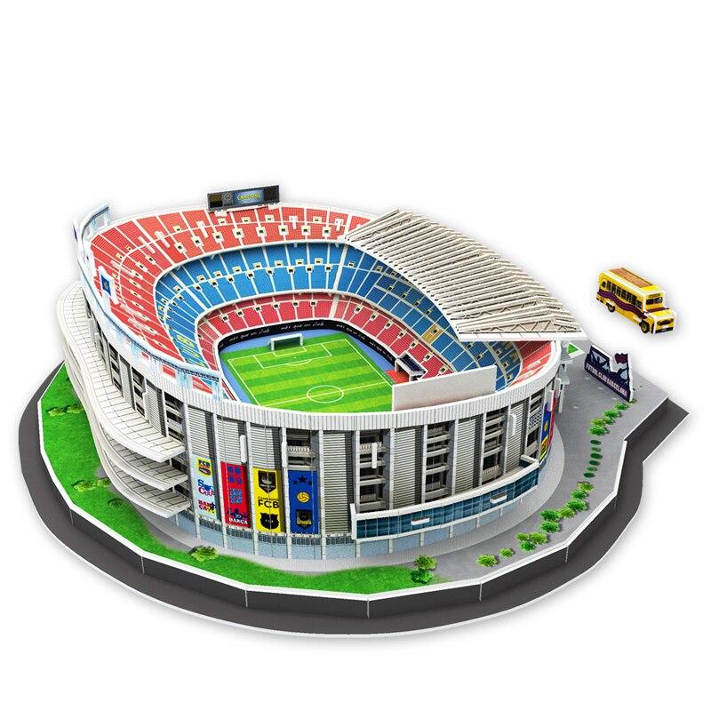 บาร์เซโลนาสเปนฟุตบอลรุ่น Camp Nou ปริศนากระดาษ DIY Playmobil ของเล่นของเล่นปริศนาเมจิกก้อนของเล่นสำหรับเด็กคริสต์มาส-ใน ของเล่นพัซเซิล จาก ของเล่นและงานอดิเรก บน   1