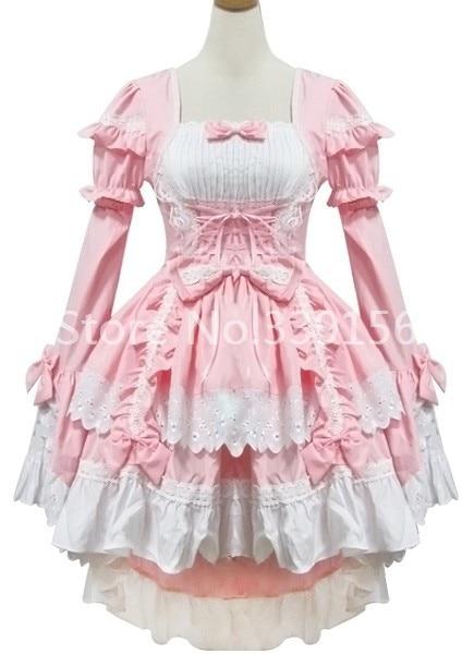 Custom Made Fashion Fashion Cute Asymmetrical  Pink Long Sleeves Sweet Gothic Lolita Maid Dresses