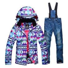 Bunte weibliche schneeanzug sets outdoor skifahren anzug sets snowboarden kleidung wasserdicht winter jacken + lätzchen hosen ski Kostüme