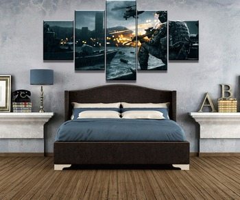 5 Piece HD Print Battlefield Game Poster Modern Decorative Paintings on Canvas Wall Art for Home Decorations Wall Decor Artwork