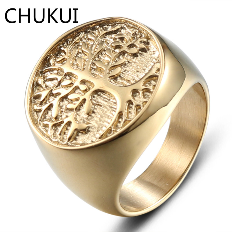 CHUKUI 20mm Round Large Width Men Rings Gold Color Casting Stainless Steel Life Tree Rings For Man Punk Hip Hop Jewelry Party