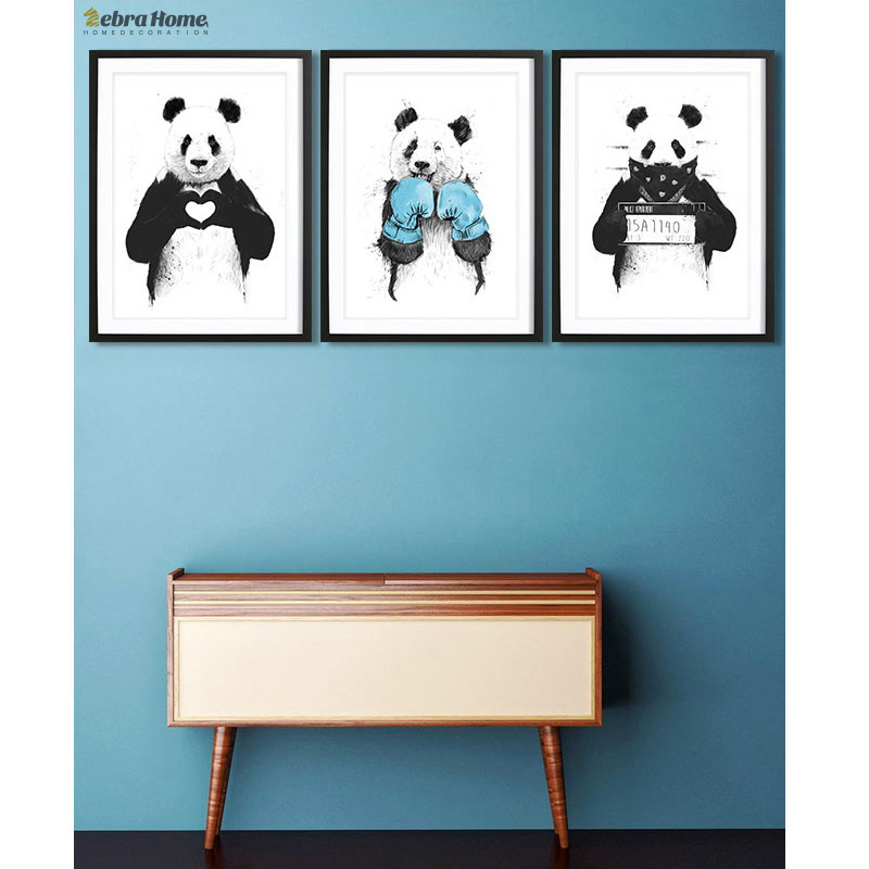 Handrit Panda Sketch Canvas Konsttryck Poster Minimalistisk Hipster Diy Painting Härlig present till Nursey Kids Room Home Decoration