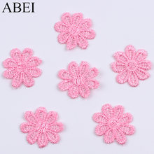 Wholesale high quality 27mm Pink Flower Appliques Lace Fabric Trims Handmade Patchwork, Wedding Dress, Girls Skirt, Scrapbook(China)