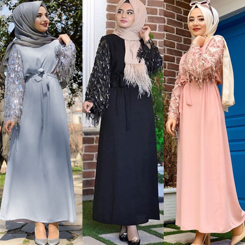 Sequin Tassel Abaya Dubai Muslim Hijab Dress Abayas For Women Kaftan Caftan Islamic Clothing Turkish Dresses Robe Femme Clothes