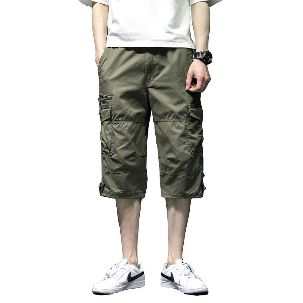 ee05a20ba1 Men's Casual Twill Elastic Cargo Shorts Below Knee Loose Fit Multi-Pocket  Capri Shorts Summer
