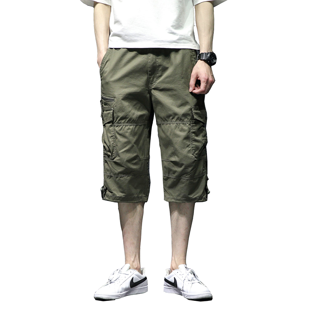 Mens Casual Twill Elastic Cargo Shorts Below Knee Loose Fit Multi-Pocket Capri Shorts Summer Trousers for Male Pantalon Hombre