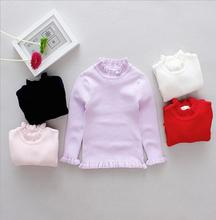 2017 Autumn&Winter Pullovers Knit Sweaters Solid Turtleneck Kids Baby Girls Clothing Korean Version Of the Printing S038