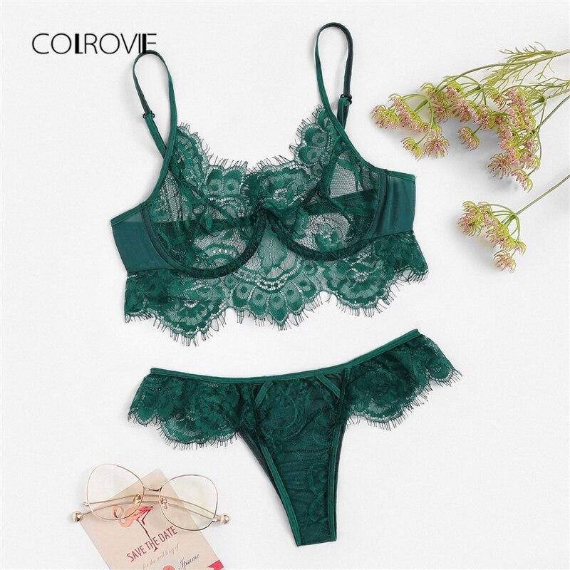 COLROVIE Green Sheer Lace Sexy Women Intimates Autumn Wireless Lingerie   Set   Femme Floral See Through   Bra   Underwear   Set