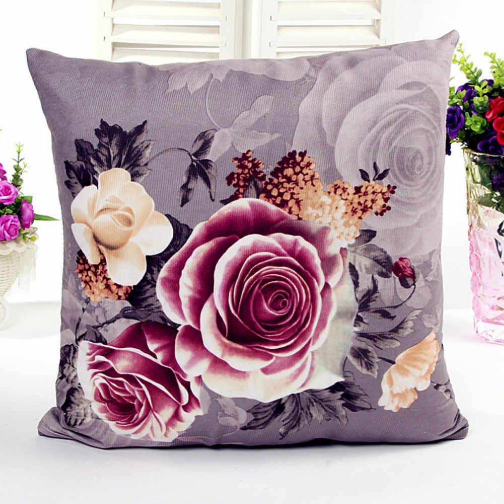 45x45 cm poszewka na poduszkę 3D róża drukowane poduszki pościel poszewka rzuć poszewka na poduszkę pokój dzienny pokój kwiat piwonia małe świeże