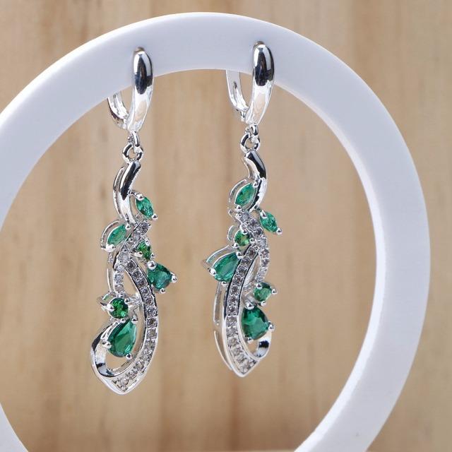 Grønn CZ 925 sterling sølv øredobber For kvinner Stones lenke kjede armbånd halskjede