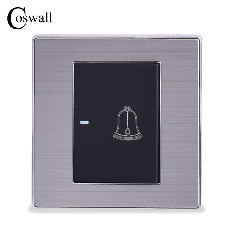 COSWALL 1 Gang Luxury Doorbell Switch Push Button Wall Switch Interruptor Brushed Silver Panel Power Conmutador 10A AC 110~250V