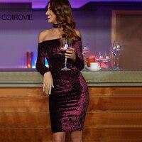 COLROVIE Bardot Velvet Bodycon Dress With Choker Women Sexy Party Club Long Sleeve Dresses 2017 Off Shoulder Zip Slim Midi Dress