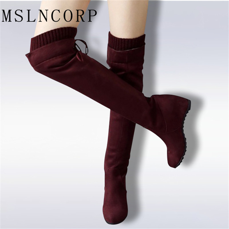 Plus Size 34-43 Faux Suede Women Winter Knee High Boots Sexy Stretch Over The Knee High Boots Slim Fit Thigh Height Increasing