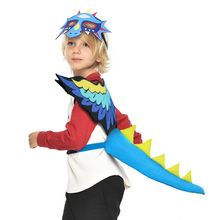 Купить с кэшбэком SPECIAL Dragon Wing Mask Tail Costumes Pretend Play Animal Costume For Kids Carnival Boys Stage Show Costumes Baby Toys