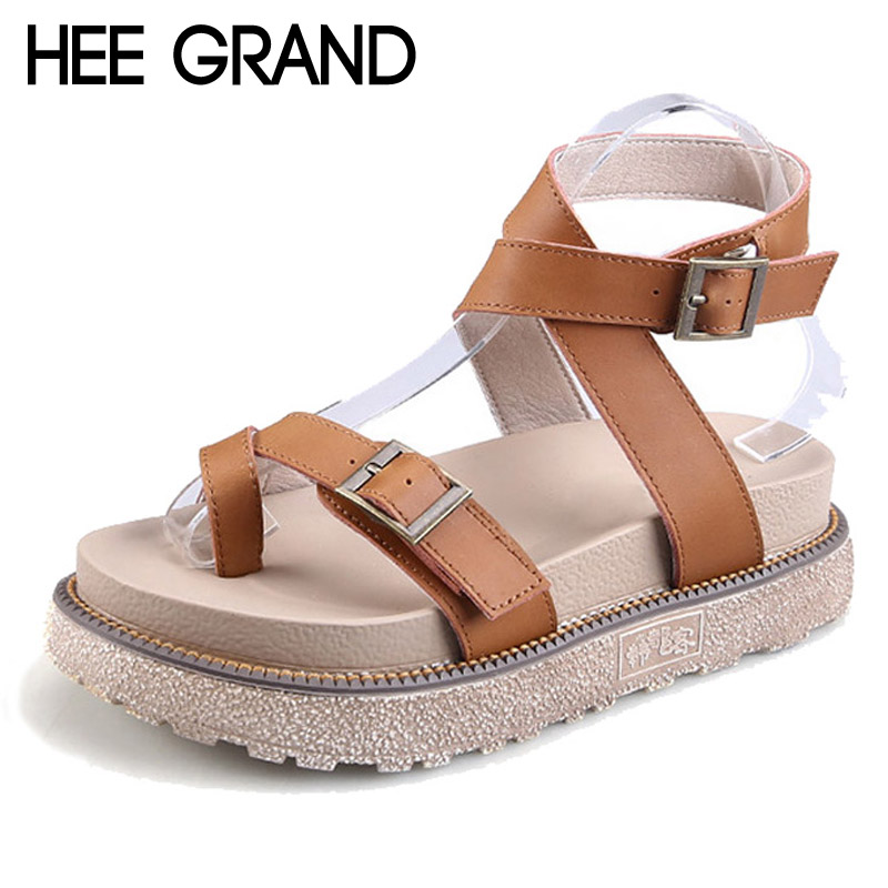 HEE GRAND Gladiator Sandals 2017 New Summer Flip Flops Platform Flats Shoes Woman Casual Creepers Vintage Women Shoes XWZ3664 hee grand lace up gladiator sandals 2017 summer platform flats shoes woman casual creepers fashion beach women shoes xwz4085