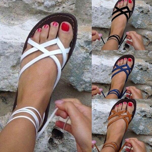 HTB1zK4mP4TpK1RjSZFKq6y2wXXak New Women Sandals Gladiator Summer Casual Women Shoes Large Size Rome Flat Sandals Lace-Up Beach Comfortable Sandals Women 2019
