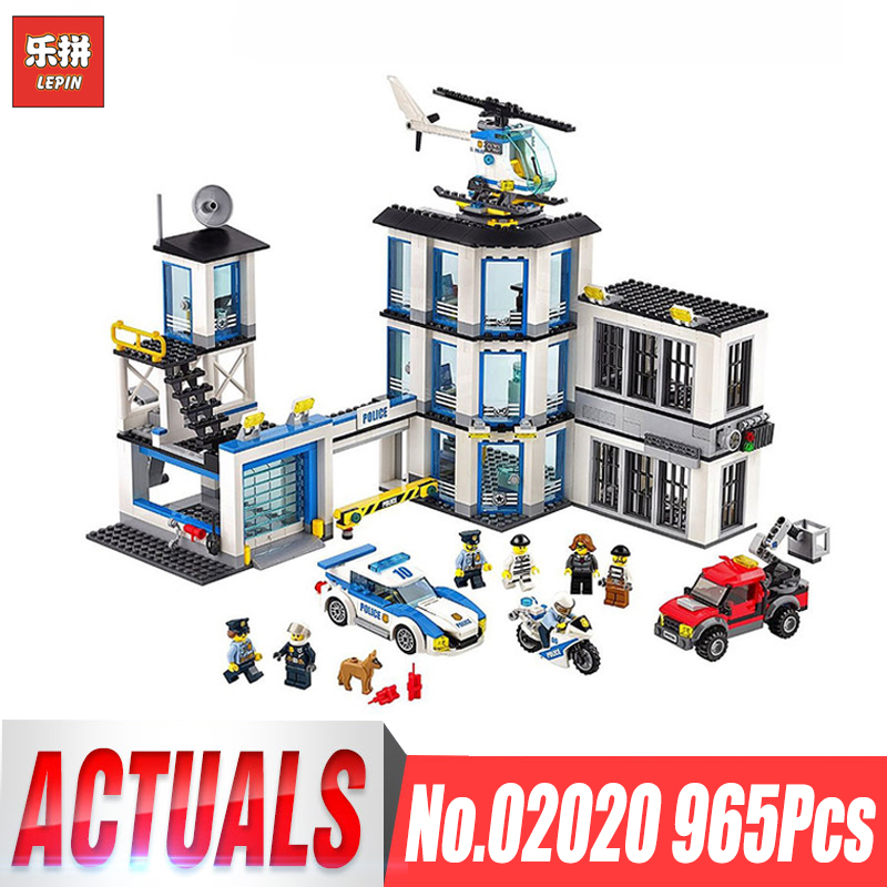 LEPIN 02020 965Pcs City Series The New Police Station Set Compatible With lego 60141 Building Blocks Bricks Toys for Children 0367 sluban 678pcs city series international airport model building blocks enlighten figure toys for children compatible legoe