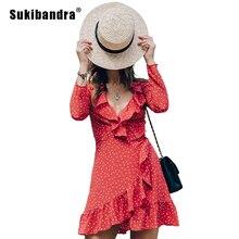 Sukibandra звезда печати с коротким в красный горошек ретро платье Для женщин Винтаж рюшами пляж Обёрточная бумага летнее платье Star девушка с длинным рукавом Кружева платье