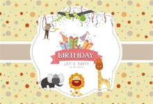 Laeacco Cartoon Happy Birthday Animal Gift Decoration Photography Backgrounds Customized Photographic Backdrops For Photo Studio