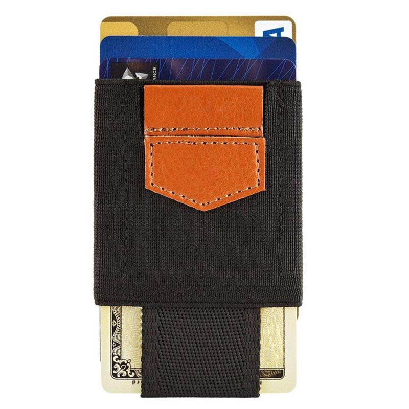 Men Women Small Minimalist Business Card Holder Elastic Belt Fixed Credit Cardholder Porte Carte Money Wallet Purse in Card ID Holders from Luggage Bags