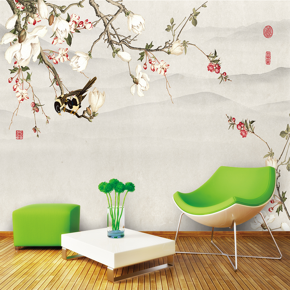 Custom Wallpaper Chinese Style Rich Magnolia Ink Landscape TV Background Wall Decoration Waterproof Material