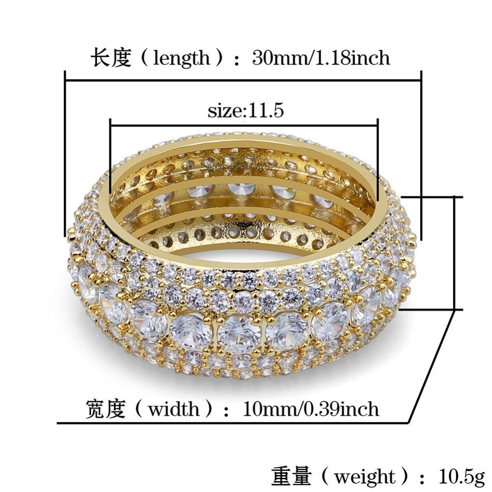 TOPGRILLZ Ring Jewelry-Rings Gifts Cubic-Zircon Iced-Out Bling Gold-Silver-Color Men's