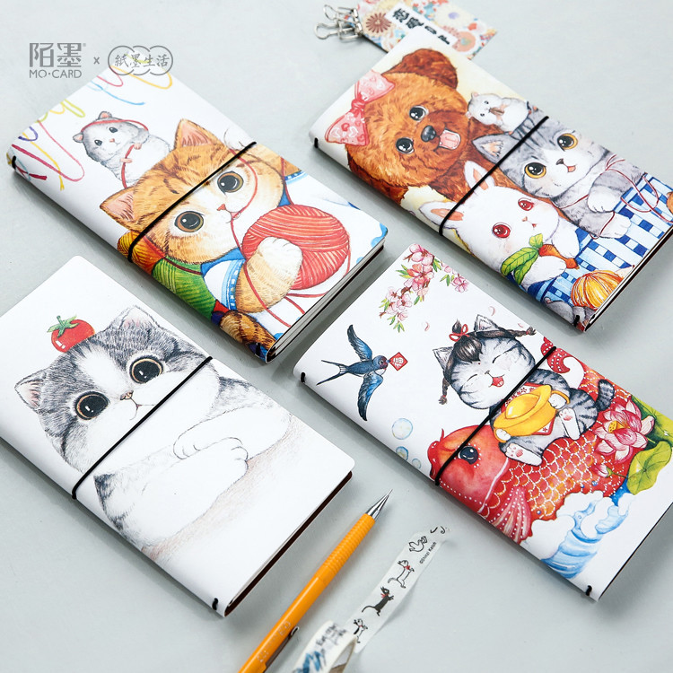 1 pcs PU Leather Cover Planner Notebook Cat Travel Journal Diary Book Exercise Composition Binding Note Notepad Gift Stationery