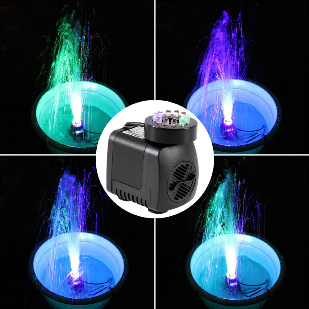 2018 Submersible Water Pump With 12 LED lights 600L / H 10 W For Aquarium Fish Tank Pond Fountain 220-240V US Plug bomba agua