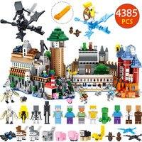Шт. 4385 шт. мой мир большой Magic технологические строительные блоки комплект Совместимость LegoINGLYS Minecraft замок Модель Кирпичи детей игрушечные л