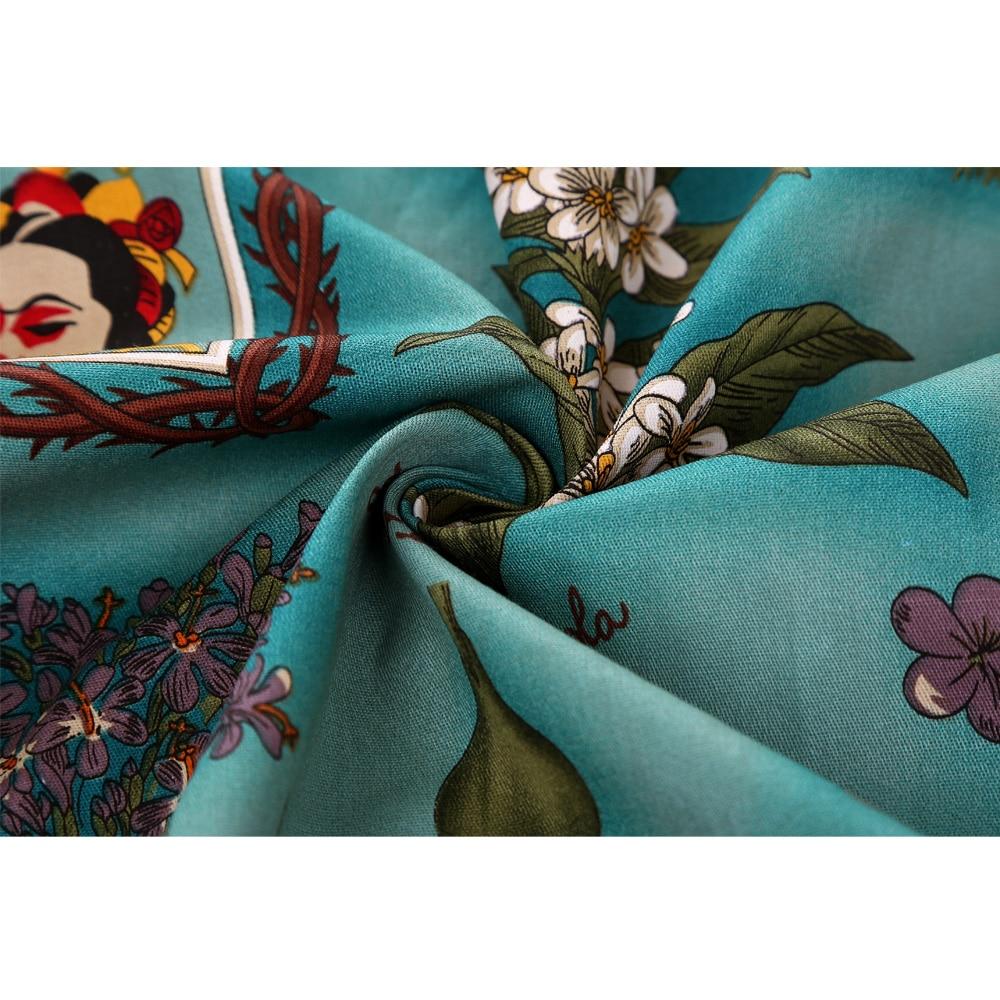 Image 3 - تنورة نسائية ميدي تنورة كلاسيكية من Rockabilly للسيدات بنبات 50s 60s من القطن بطيات عالية الخصر بنقوش صغيرة سوداء اللون تنانير يومية-في تنانير من ملابس نسائية على AliExpress