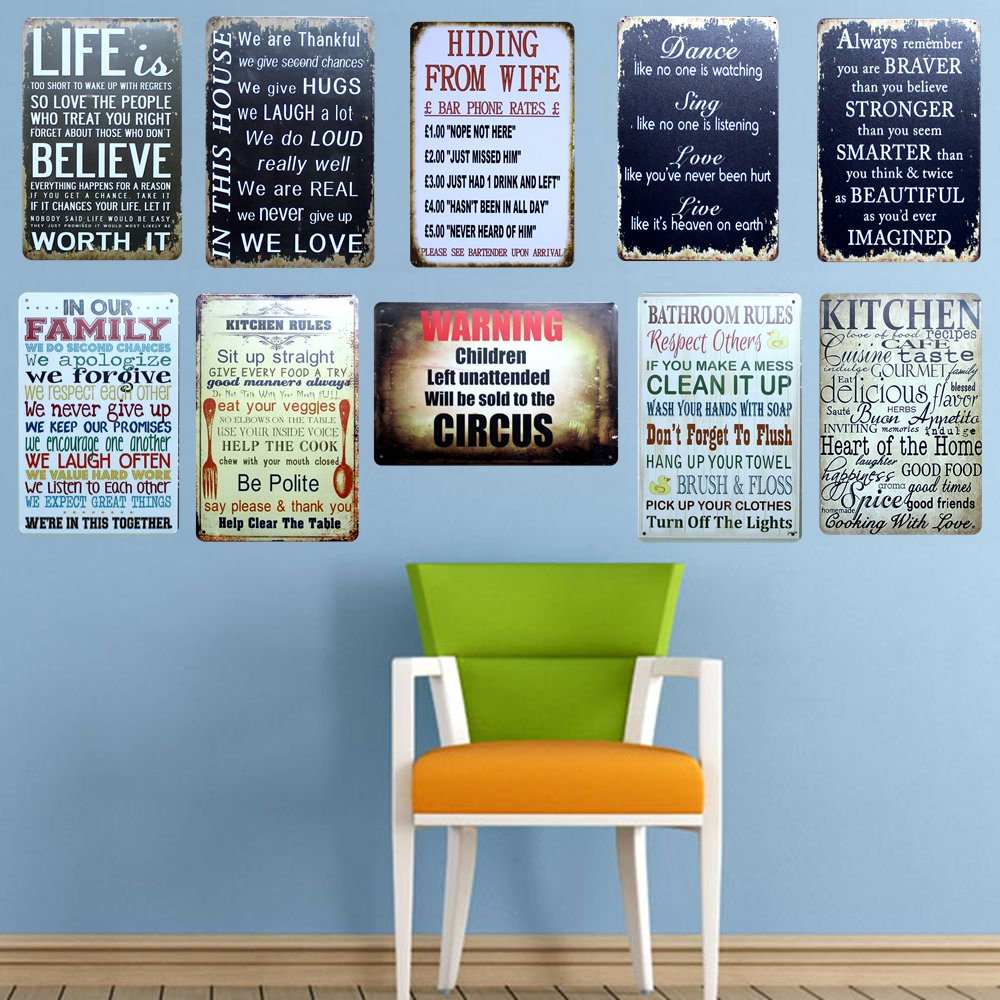 Kelly66 ] The slogan signs Metal Plaque Bar Cafe House Wall Signs ...