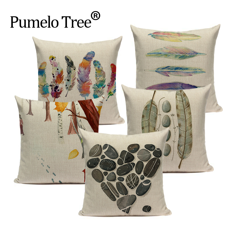 Summer Chair Decorative Watercolor Style Yarn Colored Feathers Sofa Cushion Decorative 45Cmx45Cm Square Sofa/Bed Pillow Cover