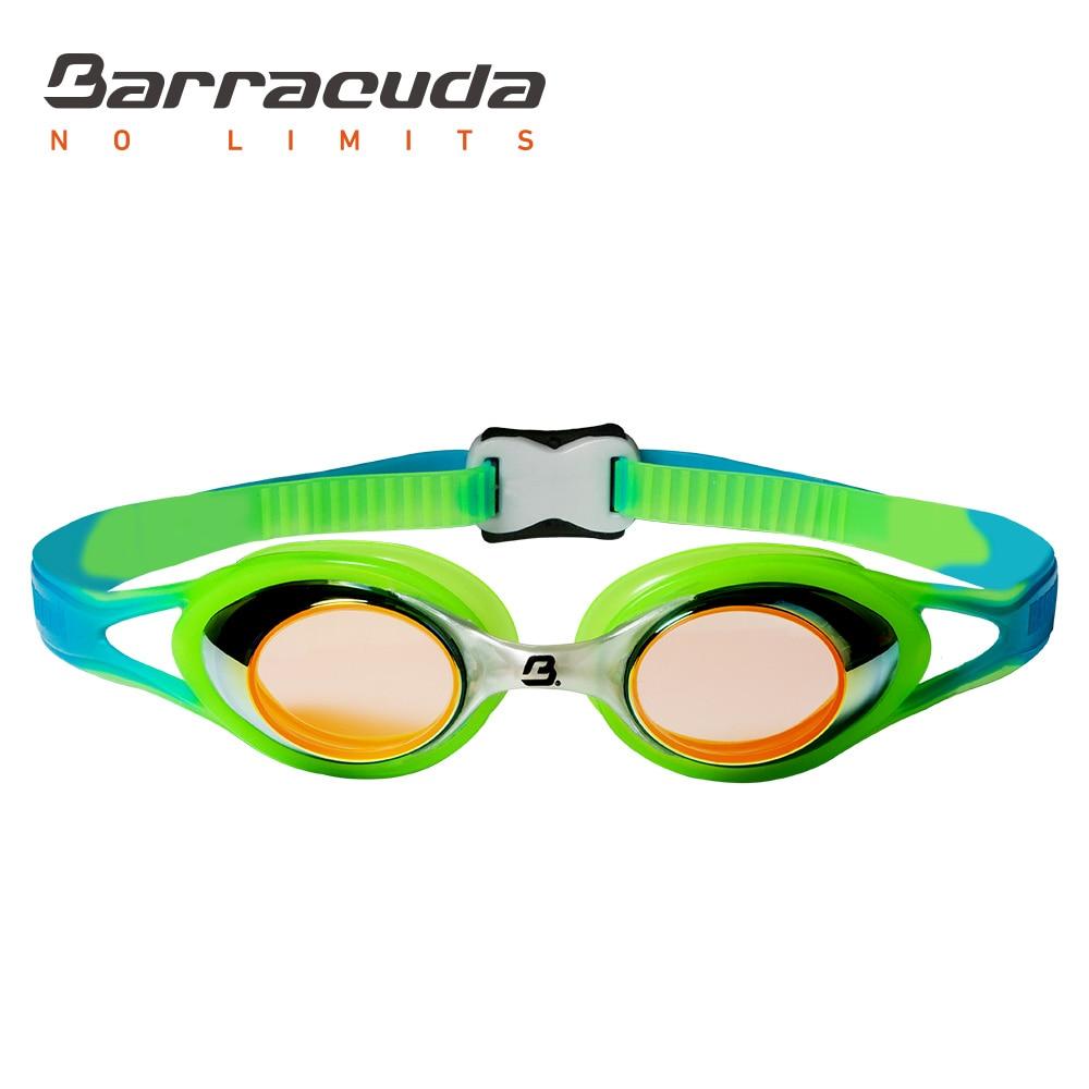 Barracuda Junior Swim Goggle CARNAVAL Mirror Lenses Anti-fog UV Protection Anti-glare Silicone Seals Strap for Kid ORANGE #34710