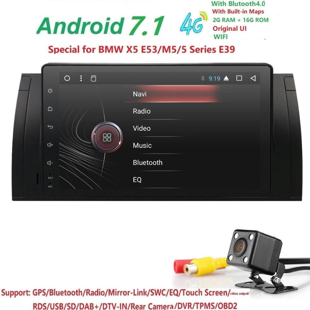 9 pouce 1024x600 HD Écran Tactile 1 din Android 7.1 Voiture Multimédia Radio Stéréo pour BMW E39 E53 x5 Wifi 3g Bluetooth DVR RDS USB