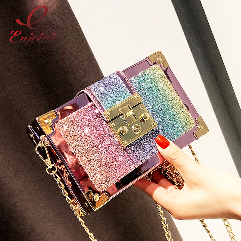 Luxury Fashion Gradient Color Sequins Box Style Female Party Clutch Bag Shoulder Bag Chain Purse Crossbody Mini Messenger Bag цена