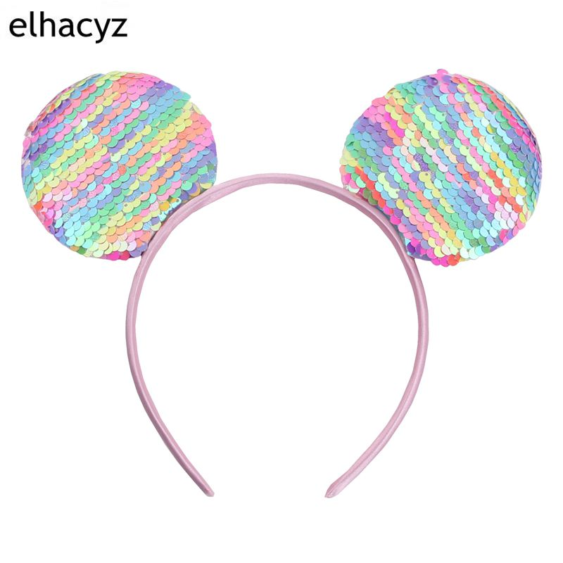 12pcs/lot 3.3'' Minnie Mouse Ear Hairband Trendy Big Glittle Sequins Girl DIY Hair Accessories For Kids Party Boutique femme