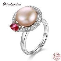 Shineland Drehbare Ring Original Authentischen 925 Sterling Silber 10mm Rosa Süßwasser-zuchtperlen Sekt Freie CZ Ringe Einstellbar